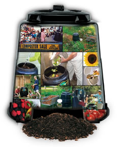 Photo of backyard composter filled with photos of composter in action