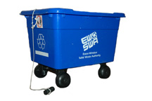 Photo of a blue recycle box outfitted with a set of wheels