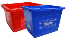 Red and Blue Recycle Boxes