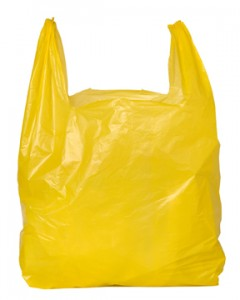 Photo of a bright yellow plastic bag