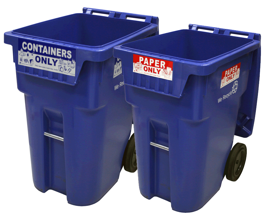 Two large recycling carts. One labeled for paper products and one labeled for containers.