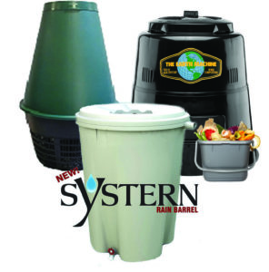 image of rain barrel, backyard composter and green cone digester
